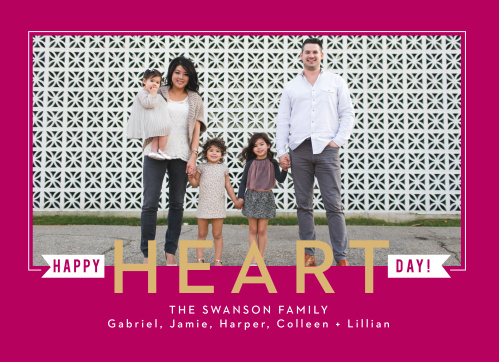 A vibrant pink serves as the background for our Heart Flags Foil Valentine's Day Cards.