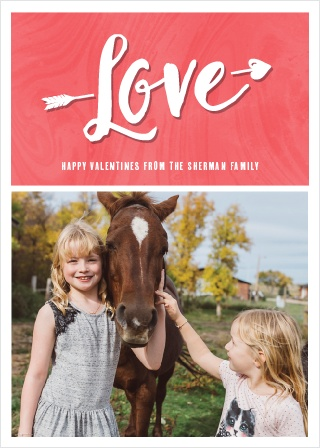 Our lovely Cupid Arrow Valentine's Day Cards are divided into two halves: the top features the word