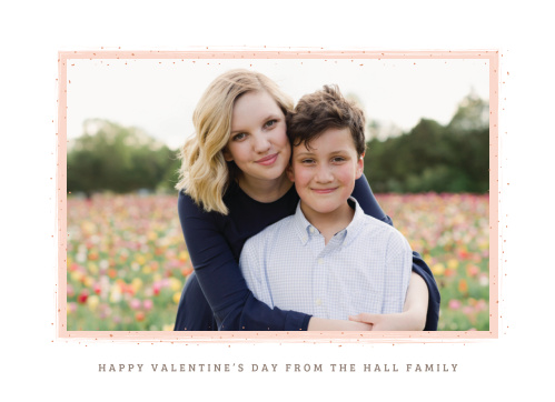 The Dotty Border Foil Valentine's Day Cards simply use your photo and a painted ballet pink frame speckled with raised rose gold foil as an expression of your love.