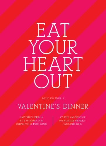 Eat Your Heart Out Valentine's Day Party Invitations are decorated in diagonal red and pink candy stripes, letting your guests know just how