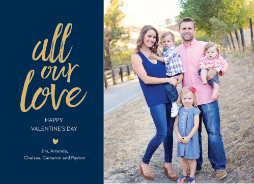 Go for a simple heartfelt card with the Golden Love Foil Valentine's Day Cards!