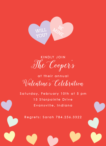 Valentines Day Party Invitations Match Your Color Style Free
