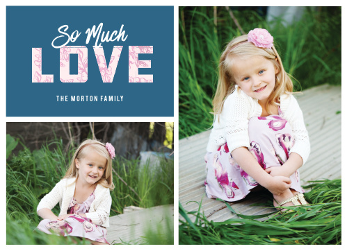 "The Love Grid Valentine's Day Cards feature a floral patterned ""LOVE"" amid two of your gorgeous photos!"