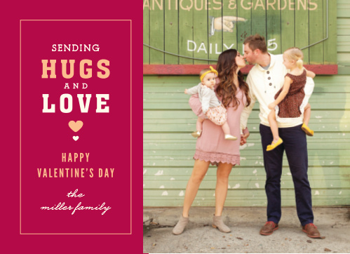 Steal hearts on the annual day of love with the vintage Hugs & Love Valentine's Day Cards!