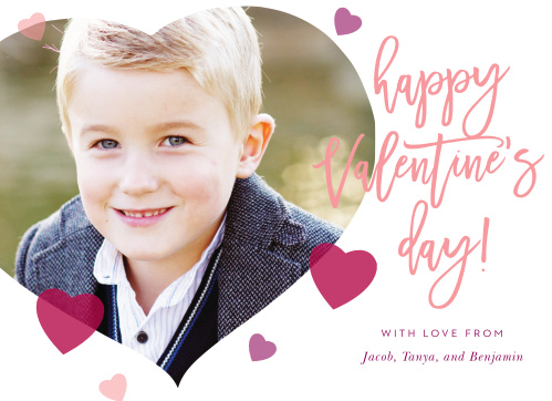 Frame your photo in a heart decorated with tiny multicolored hearts for the Heart Balloons Valentine's Day Cards!