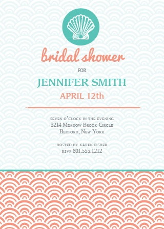 The Shell Bridal Shower invite is ideal for the modern beach themed bridal shower.