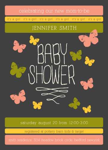 The Butterfly Haven Baby Shower Invitation is a simple yet cute design perfect for throwing the mommy to be a fantastic baby shower.