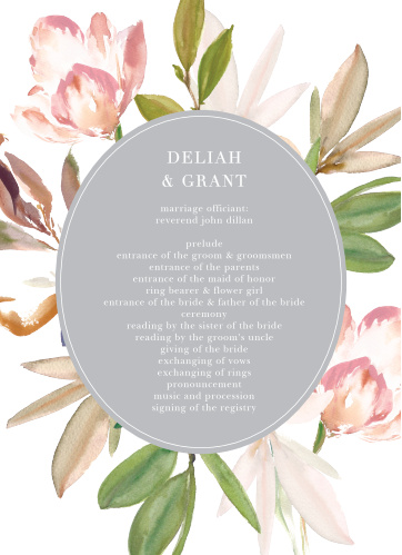 Let your guest know what to expect at your wedding using the Darling Watercolor Wedding Programs.