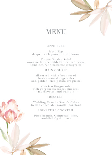 Let your guest know what they can eat at your wedding using the Darling Watercolor Wedding Menus.