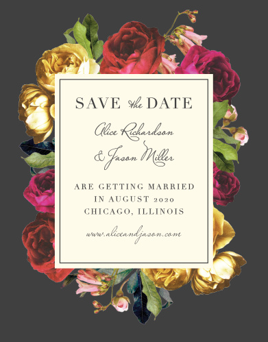 Rose Floristry Save-the-Date Cards guarantee that your friends and family mark their calendars well in advance of your special day.