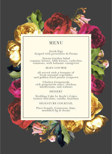 Share with your guests the treats you have in store with our Rose Floristry Menus.