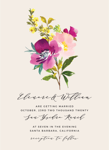 Featuring a lovely bouquet of flowers in a watercolor style and a duo of elegant, vintage typefaces, our Mallow Wedding Invitations are perfect for surrounding yourself with loved ones on your wedding day.
