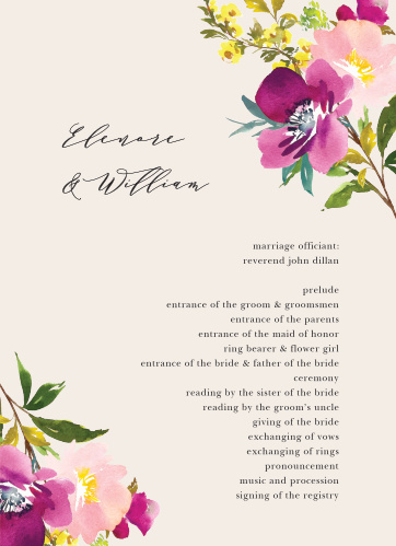 Give your guests the opportunity to follow along with each special moment, and member, of your wedding ceremony with our stunning Mallow Wedding Programs.