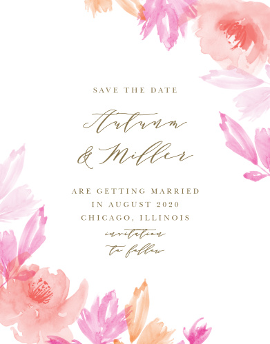 Ensure that your friends and family know when your wedding will be using the Water Rose Save-the-Date Cards.