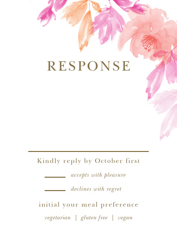 With the Water Rose Response Cards you will be able to keep track of all the guests that plan on attending your wedding.