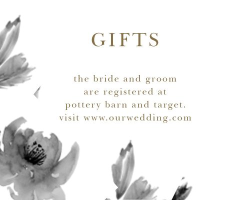 Make sure your guests know your registry details using the Water Rose Registry Cards.