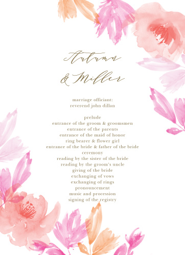 Let your guest know what to expect at your wedding using the Water Rose Wedding Programs.
