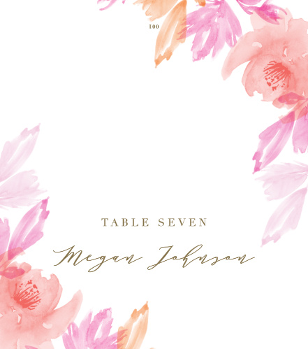 Personalize the Water Rose Place Cards colors and fonts to coordinate with your wedding theme.