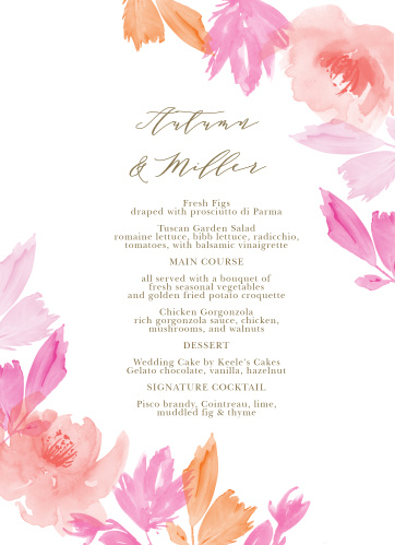 Let your guest know what they can eat at your wedding using the Water Rose Wedding Menus.