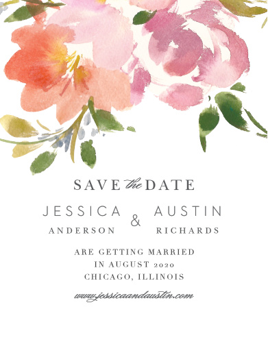 Ensure that your friends and family know when your wedding will be using the Floral Felicity Save-the-Date Magnets.