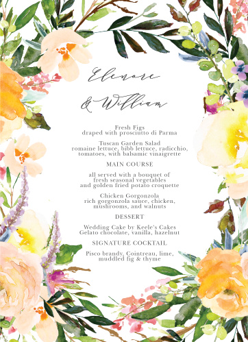 Let your guest know what they can eat at your wedding using the Willow Wreath Wedding Menus.