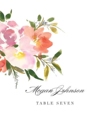 Personalize the Floral Felicity Place Cards colors and fonts to coordinate with your wedding theme.