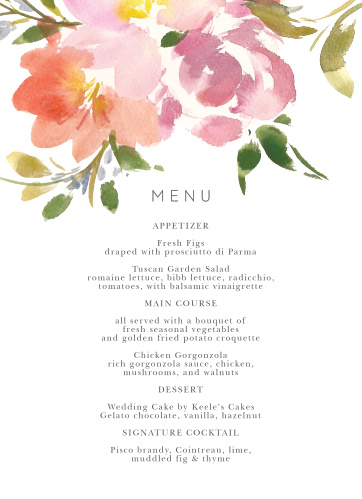 Let your guest know what they can eat at your wedding using the Floral Felicity Wedding Menus.