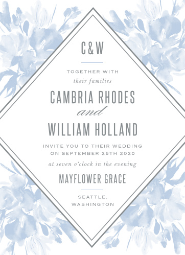 The Subtle Fleuriste Wedding Invitations have a bordered, diamond shaped background overlaying soft blue, washed out blooms.