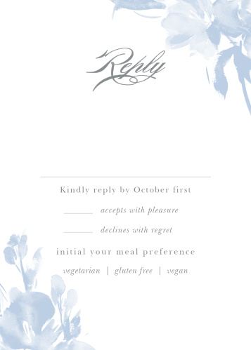 The Subtle Fleuriste Response Cards are edged with soft blue, washed-out blooms.