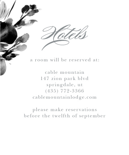 The Subtle Fleuriste Accommodation Cards are edged with soft blue, washed-out blooms.