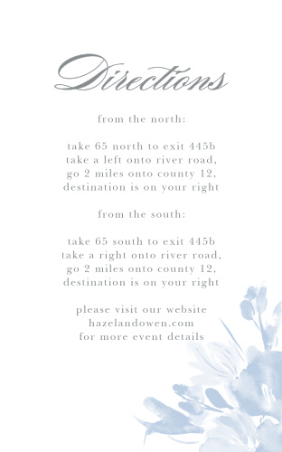 The Subtle Fleuriste Direction Cards are edged with soft blue, washed-out blooms.