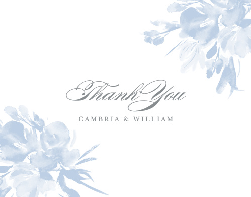 Soft blue, washed out blooms grace the edges of The Subtle Fleuriste Wedding Thank You Cards.