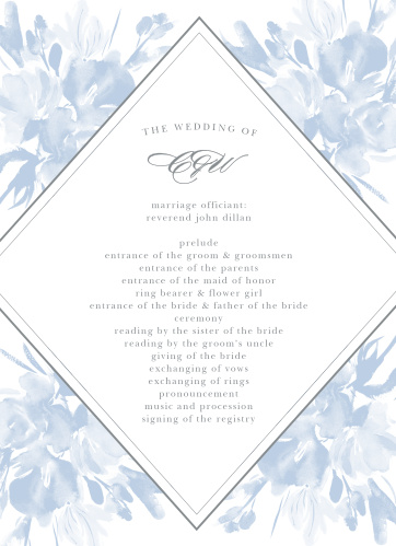 The Subtle Fleuriste Wedding Programs have a bordered, diamond shaped background overlaying soft blue, washed out blooms.