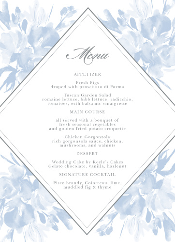 The Subtle Fleuriste Wedding Menus have a bordered, diamond shaped background overlaying soft blue, washed out blooms.