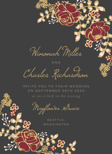Vibrant rose arrangements decorate the edges of the Opulent Floweret Foil Wedding Invitations.