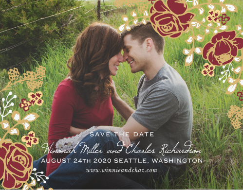 Vibrant rose arrangements decorate the edges of your engagement photo for the Opulent Floweret Foil Save the Date Magnets.
