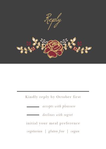 The Opulent Floweret Foil Response Cards have an RSVP area set below a stormy gray backdrop with a gold-foiled rose arrangement.