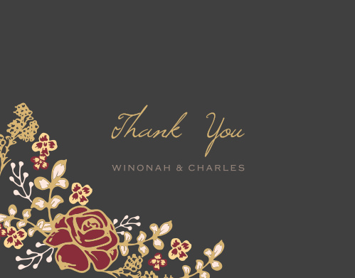 A vibrant rose arrangement decorate the bottom edge of the Opulent Floweret Foil Thank you Cards.