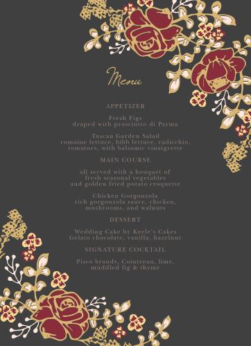 Vibrant rose arrangements decorate the edges of the Opulent Floweret Foil Wedding Menus.