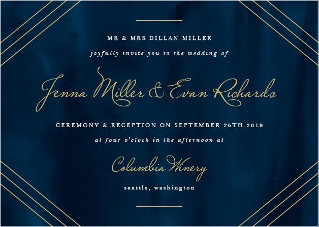The background of our Indigo Infatuation Foil Wedding Invitations takes inspiration from the midnight waters of the ocean itself, the deep blue patterns as inscrutable as the love you share with each other.