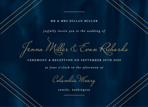 The background of our Indigo Infatuation Wedding Invitations takes inspiration from the midnight waters of the ocean itself, the deep blue patterns as inscrutable as the love you share with each other.