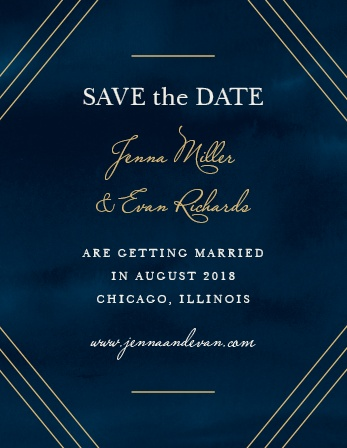 Ensure that your most cherished loved ones mark their calendars well in advance with our Indigo Infatuation Foil Save-the-Date Cards.