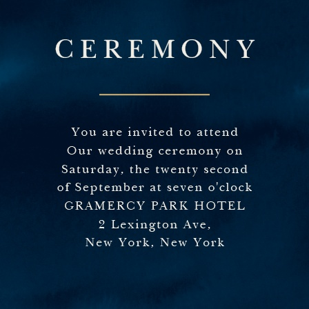 For your smaller, perfectly intimate ceremony, use our Indigo Infatuation Foil Ceremony Cards.
