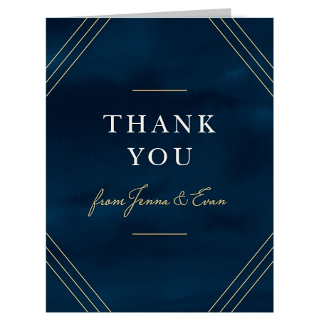 Share your gratitude for your guests with our stunning Indigo Infatuation Foil Thank You Cards.