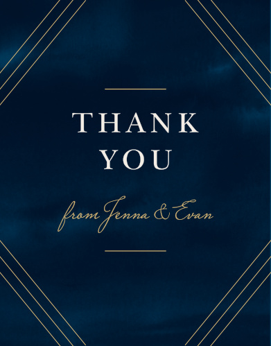 Share your gratitude for your guests with our stunning Indigo Infatuation Thank You Cards.