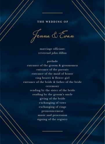 Indigo Infatuation Wedding Programs ensure that your guests can follow along with each special moment in your ceremony.