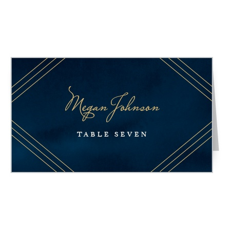 Direct your guests to their assigned seating with our stunning Indigo Infatuation Foil Place Cards.