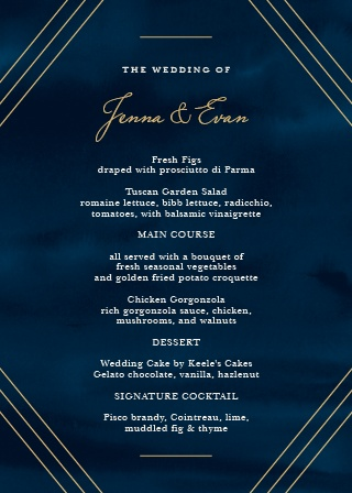 Whether you're informing your guests what they'll be eating or offering them several different meal choices, our beautiful Indigo Infatuation Foil Wedding Menus are perfect for the job.