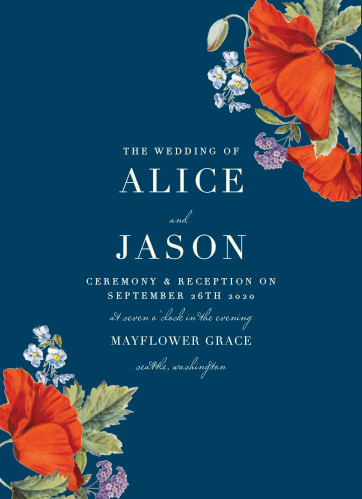 On a deep blue background, resplendent with elegant typefaces and bright red blossoms in opposing corners, our Heliotrope Blooms Wedding Invitations are a stunning snapshot of your wedding day.