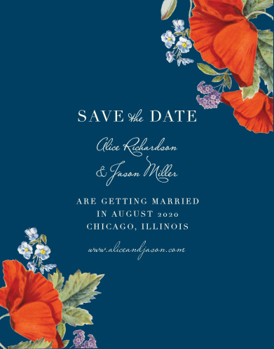 Your guests will be sure to mark their calendars with your wedding date once they receive a gorgeous Heliotrope Blooms Save-the-Date Cards.